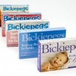 Bickiepegs Natural Teething Biscuits packaging through the years