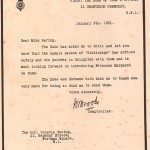 Thanks from Royal Household January 9th 1931