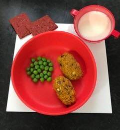 Red Doidy bowl with sweet potato croquettes