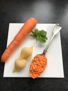 Red lentil and carrot puree